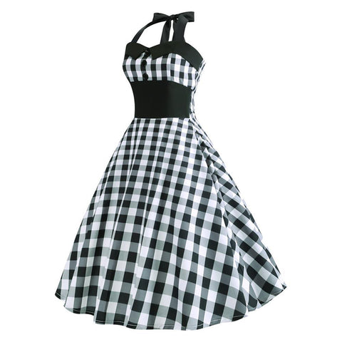 Image of Halter Grid 50s Hepburn Vintage Dress - Itopfox
