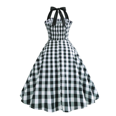 Halter Grid 50s Hepburn Vintage Dress - Itopfox