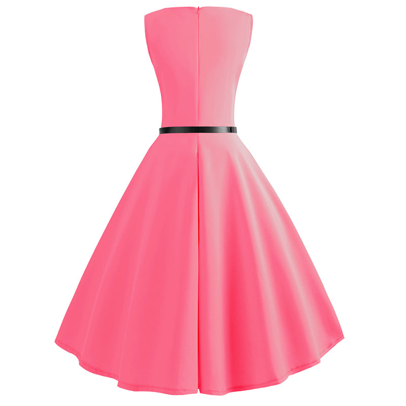 Pure Color Tea Party Hepburn Dress - Itopfox