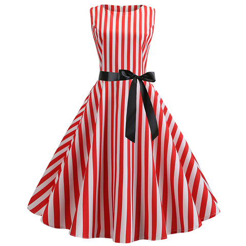 Bowknot Ribbon Striped Hepburn Dress - Itopfox