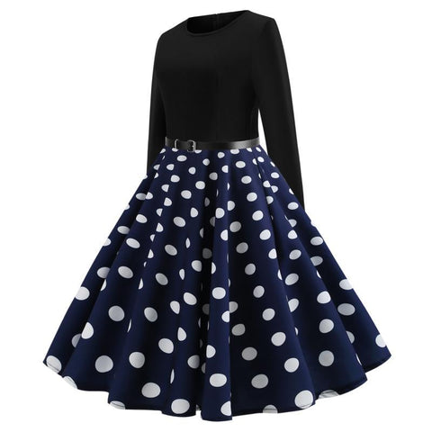 Polka Dots Vintage Dress With Belt - Itopfox