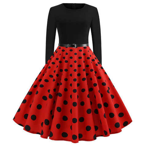 Image of Polka Dots Vintage Dress With Belt - Itopfox