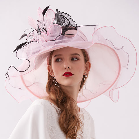 Image of 2-In-1 Fascinator Gauze Church Hat - Itopfox