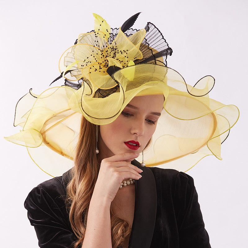 2-In-1 Fascinator Gauze Church Hat - Itopfox