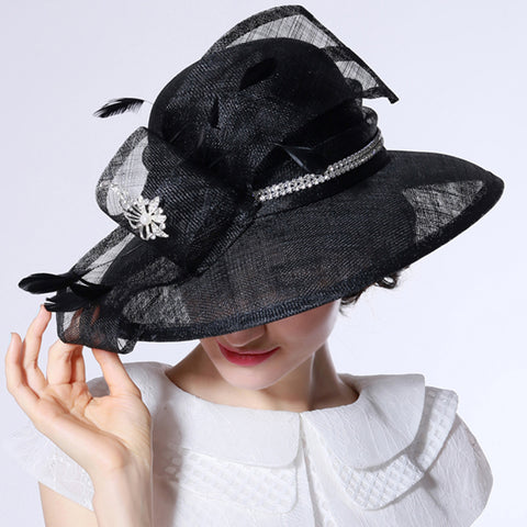 Image of Wide Brim Organza Cloche Hat - Itopfox