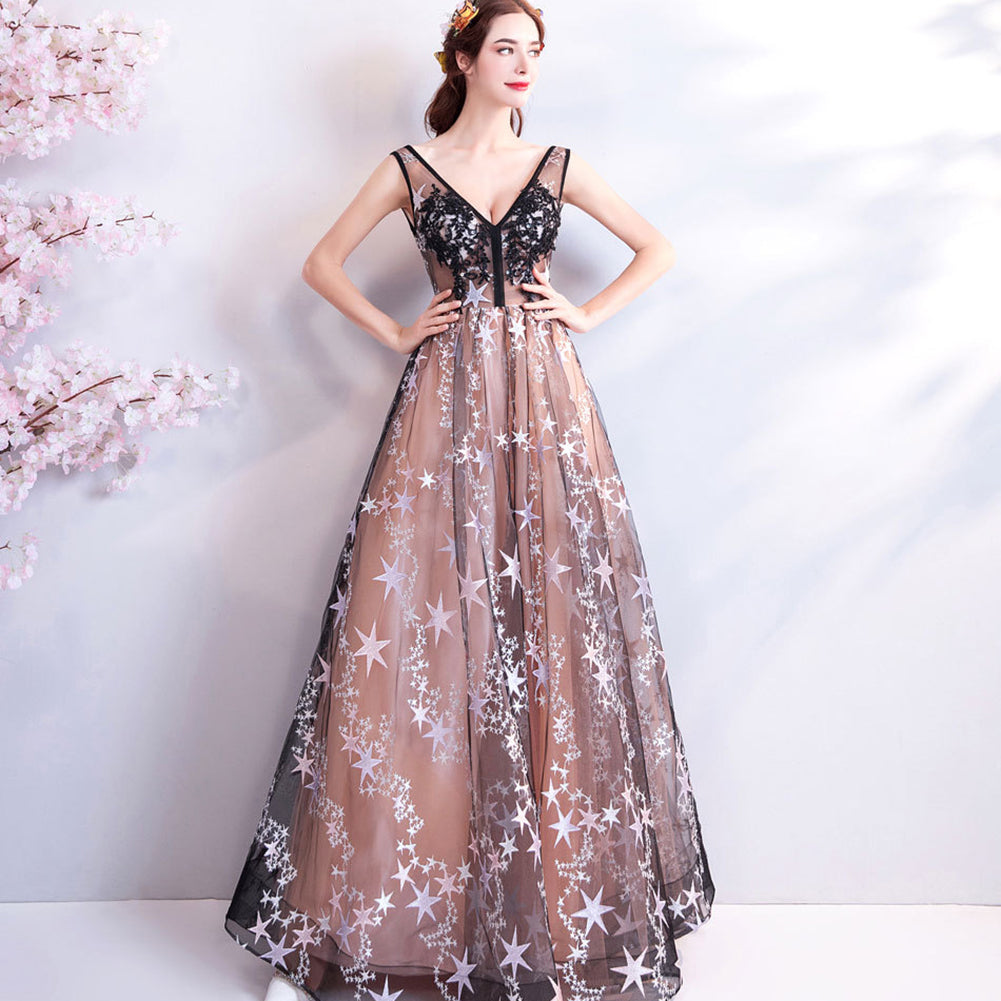 V-Neck Starry Prom Dress - Itopfox