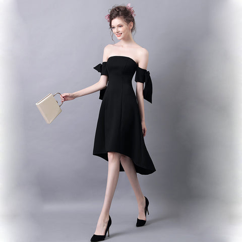 Image of Off Shoulder Irregular Hem Cocktail Dress - Itopfox