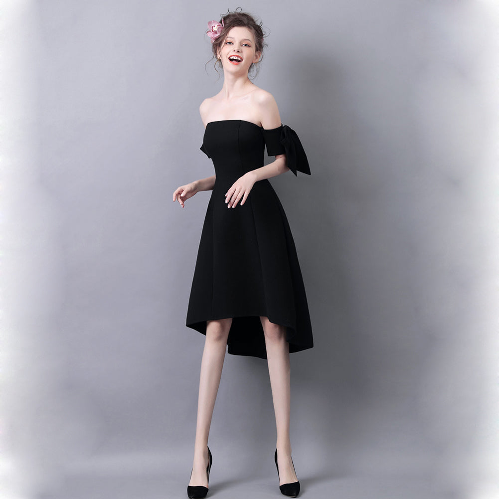 Off Shoulder Irregular Hem Cocktail Dress - Itopfox