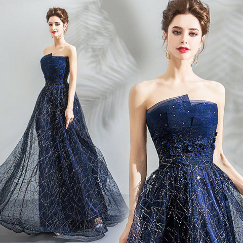 Image of Strapless Starry Maxi Cocktail Dress - Itopfox