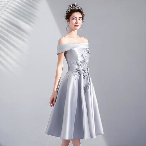Image of Boat Neck Bridesmaid Dress - Itopfox