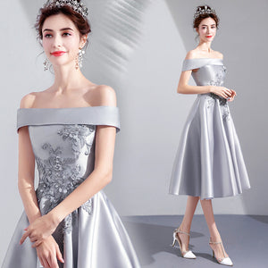 Boat Neck Bridesmaid Dress - Itopfox