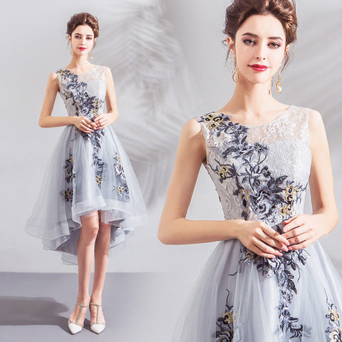 Image of Irregular Hem Midi Homecoming Dress - Itopfox