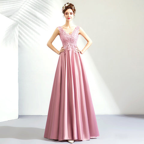 Image of V-Neck Lace Maxi Prom Dress - Itopfox