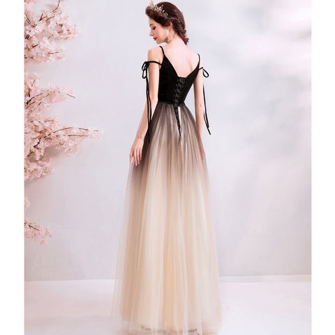 Image of Deep V-Neck Maxi Prom Dress - Itopfox