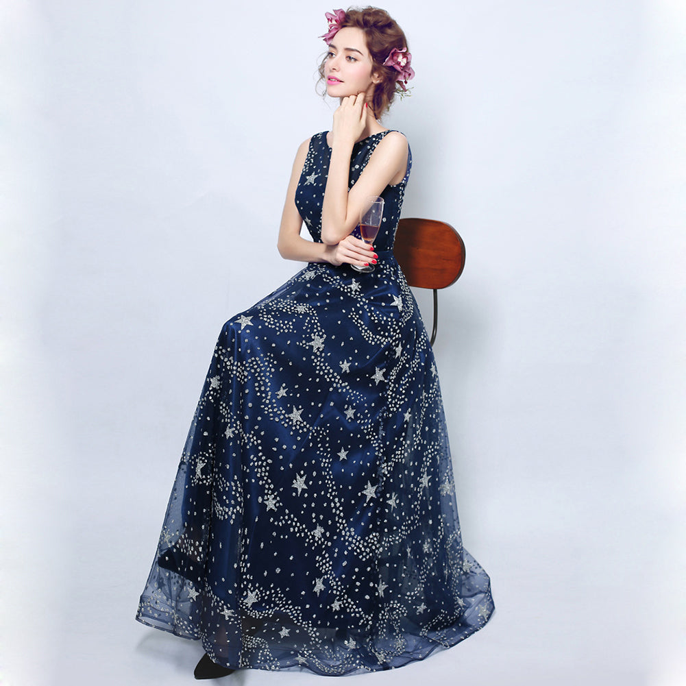 Starry Maxi Chiffon Dress - Itopfox