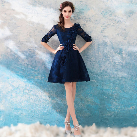 Image of Lace Beading Midi Homecoming Dress - Itopfox