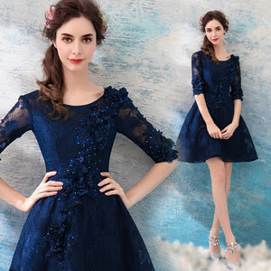 Lace Beading Midi Homecoming Dress - Itopfox