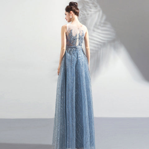 Image of Starry Floral Maxi Prom Dress - Itopfox
