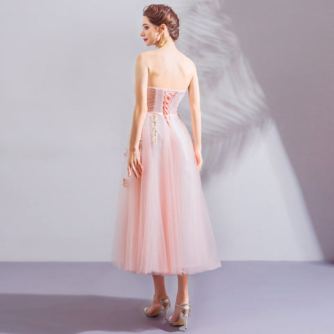 Image of Strapless Chiffon Midi Dress - Itopfox