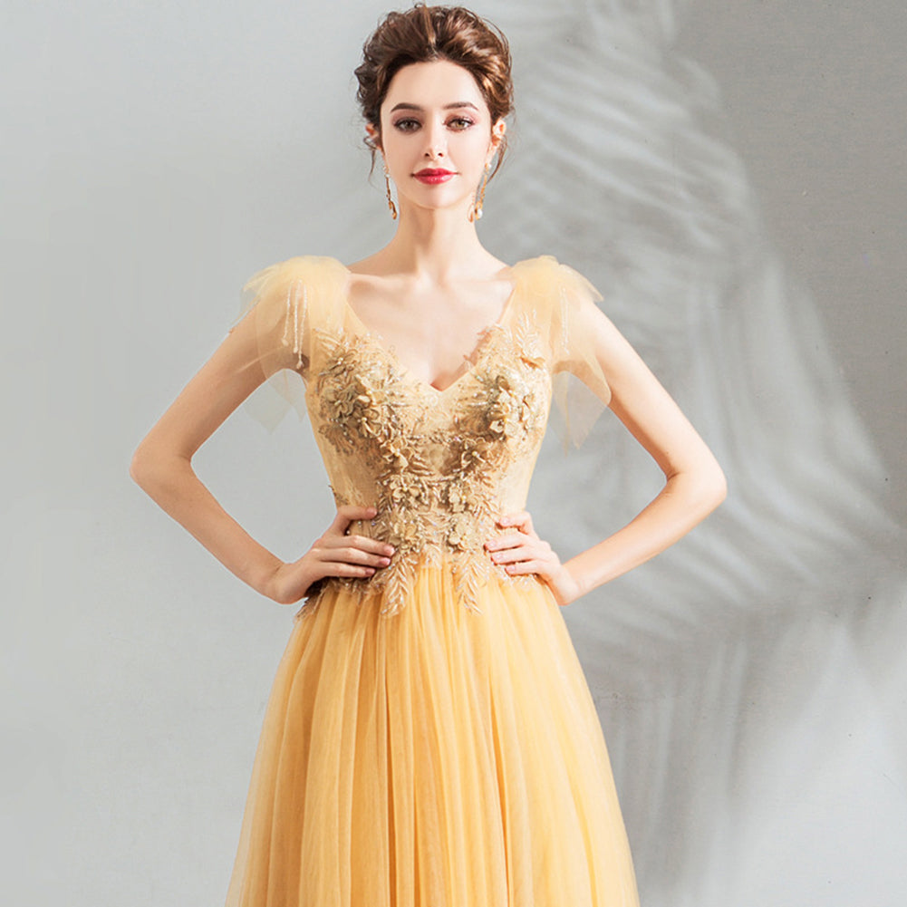Cap Sleeve Embroidery Prom Dress - Itopfox