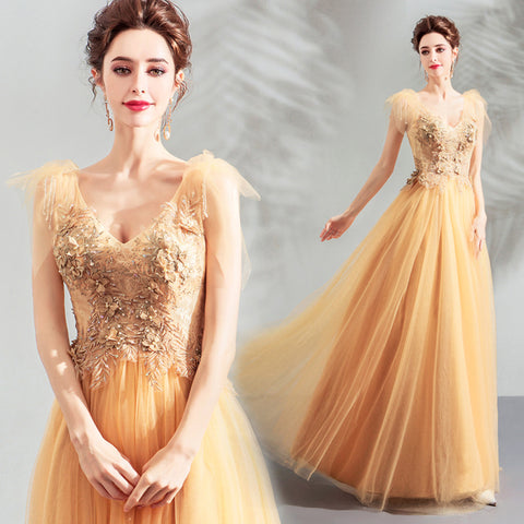 Image of Cap Sleeve Embroidery Prom Dress - Itopfox