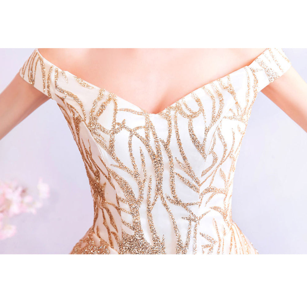 V-Neck Embroidery Prom Dress - Itopfox
