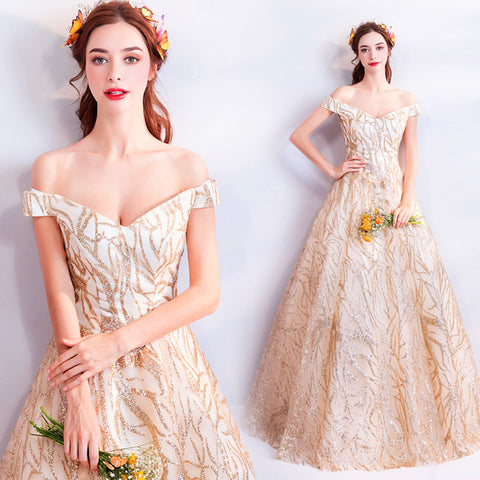 Image of V-Neck Embroidery Prom Dress - Itopfox