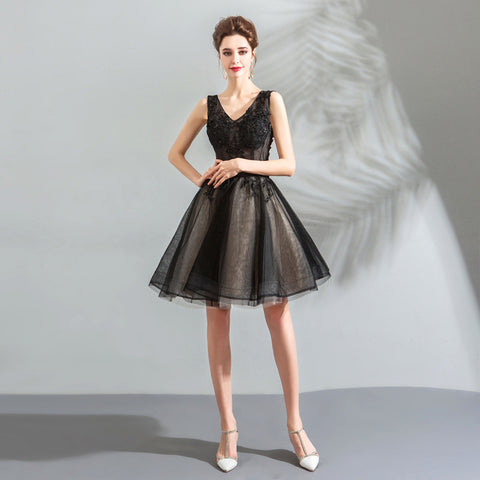 V-Neck Chiffon Homecoming Dress - Itopfox