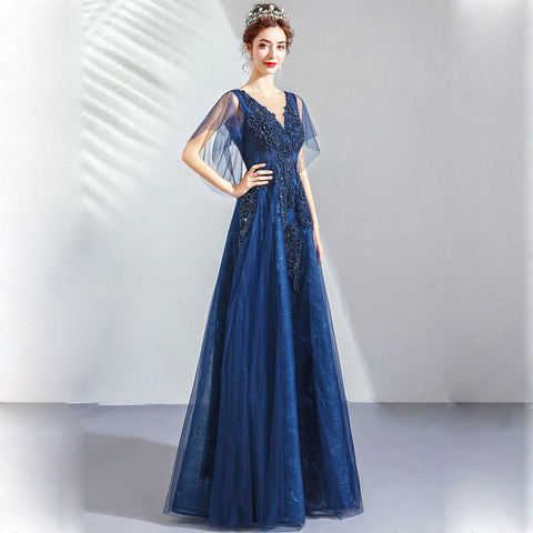 Image of V-Neck Beading Chiffon Maxi Dress - Itopfox