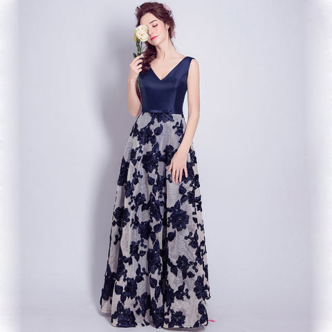 V-Neck Floral Chiffon Dress - Itopfox