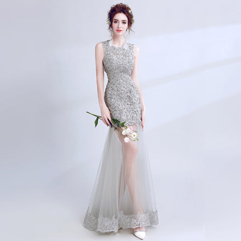 Beading Lace Sleeveless Prom Dress - Itopfox