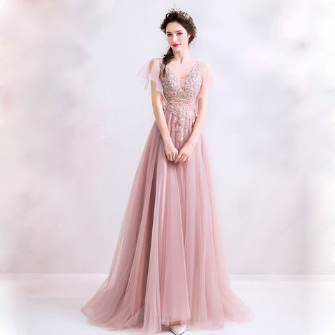 Image of V-Neck Chiffon Lace Maxi Dress - Itopfox