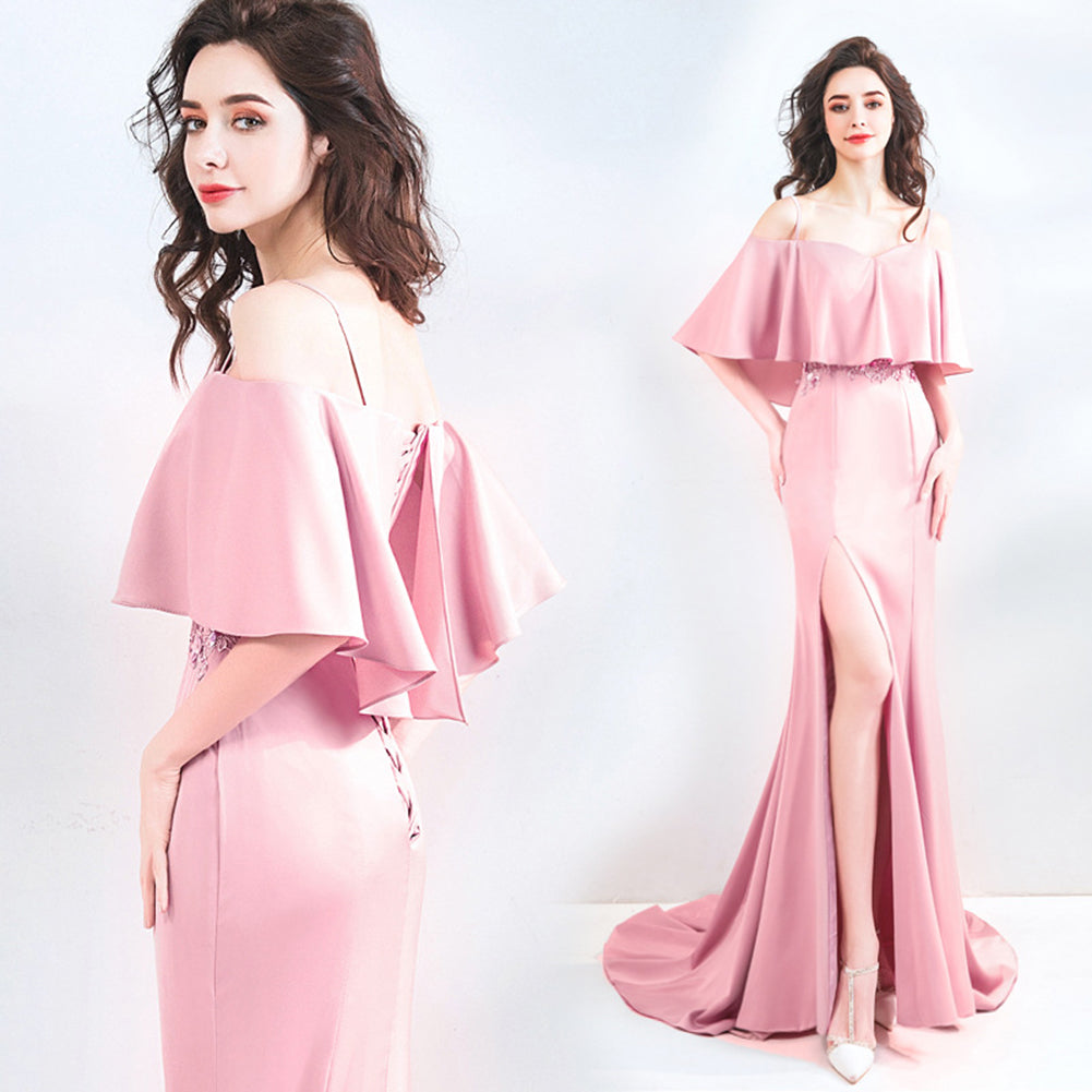 Off Shoulder Split Draggle Tail Dress - Itopfox