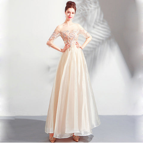 Image of Half Sleeve Beadings Chiffon Dress - Itopfox