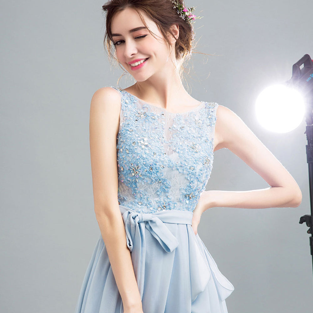 Sleeveless Backless Tunic Prom Dress - Itopfox