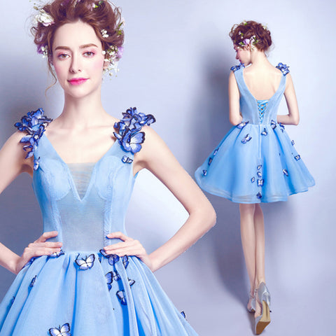 Image of Butterfly V-Neck Homecoming Dress - Itopfox