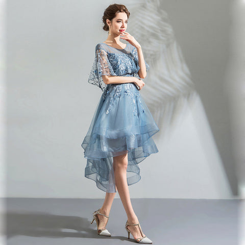 Image of Half Sleeve Irregular Hem Homecoming Dress - Itopfox