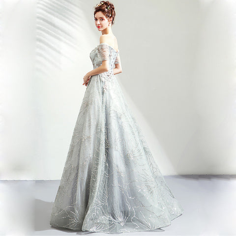 Image of Boat Neck Starry Prom Dress - Itopfox