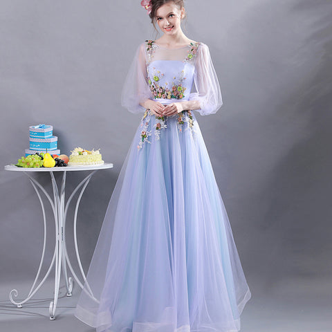 Half Sleeve Flower Decoration Prom Dress - Itopfox