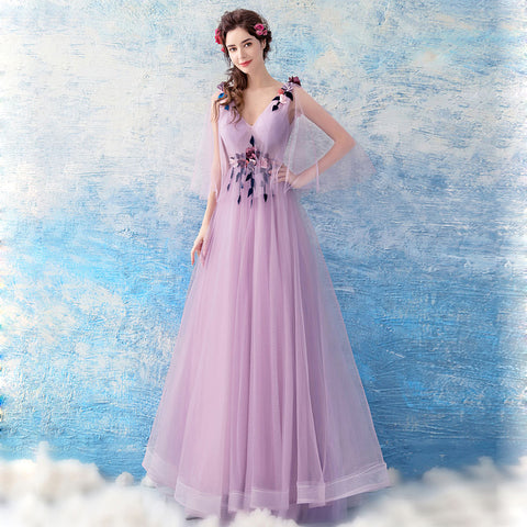 Image of Deep V-Neck Gauze Prom Dress - Itopfox