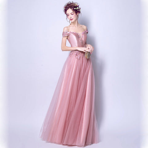 Boat Neck Maxi Prom Dress - Itopfox