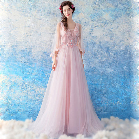 Image of Half Sleeve Tunic Chiffon Prom Dress - Itopfox