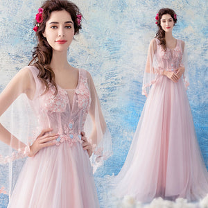 Half Sleeve Tunic Chiffon Prom Dress - Itopfox