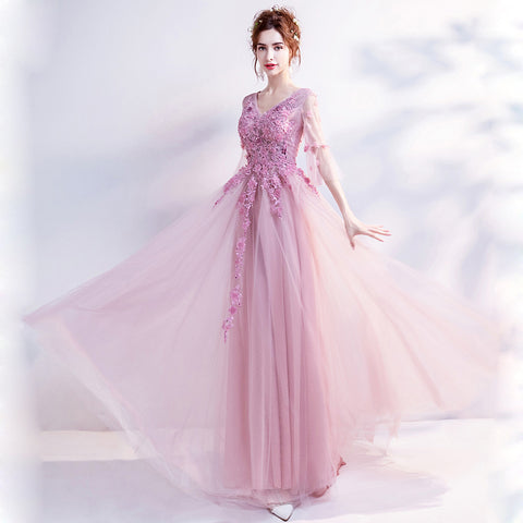 V-Neck Half Sleeve Prom Dress - Itopfox