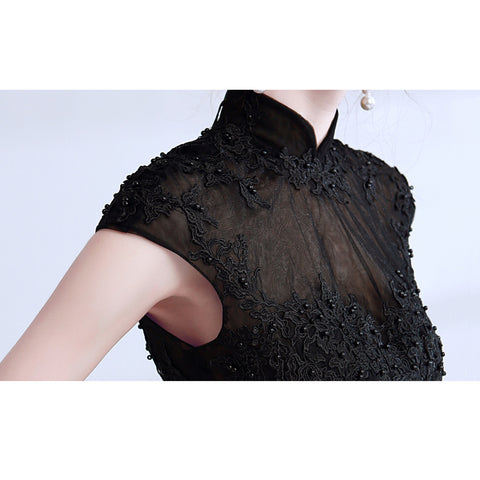 Image of Beading Mandarin Collar Maxi Dress - Itopfox