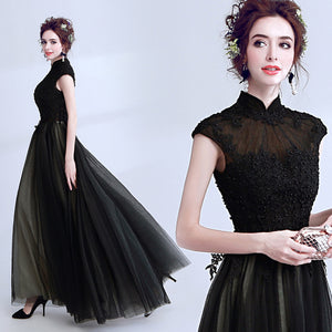 Beading Mandarin Collar Maxi Dress - Itopfox