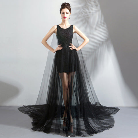 Sleeveless Draggle Tail Evening Gowns - Itopfox