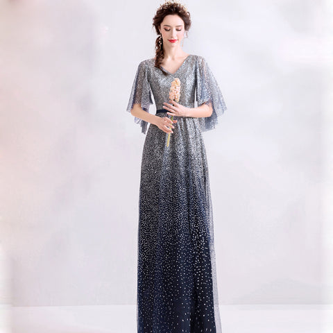 Starry Butterfly Sleeve Maxi Dress - Itopfox