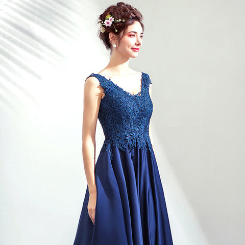V-Neck Lace Maxi Prom Dress - Itopfox