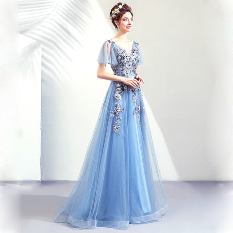 Image of V-Neck Maxi Prom Dress - Itopfox